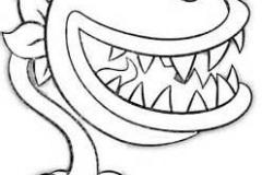 Dibujo-de-planta-carnivora-con-cuernos-para-colorear